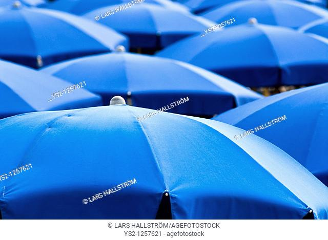 Blue sunshades, Italy, Europe