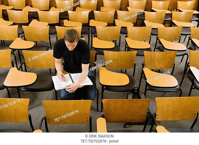 Last student left in college lecture hall
