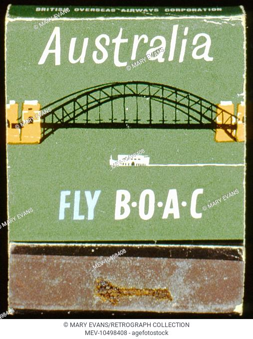 Advertisement for BOAC flights to Australia, featuring the Sydney Harbour Bridge