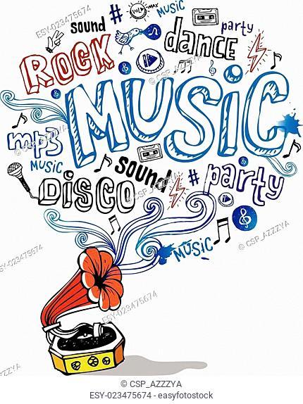 Retro gramophone and musical symbols