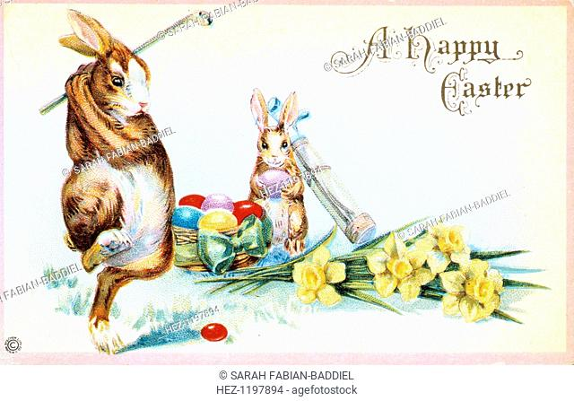 Easter card with a golfing theme, British, 1924