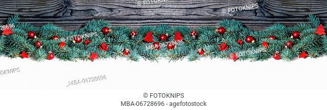 Christmas decoration on fir, banner