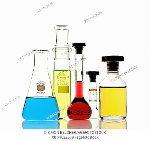 Laboratory Glassware Filled with Chemicals