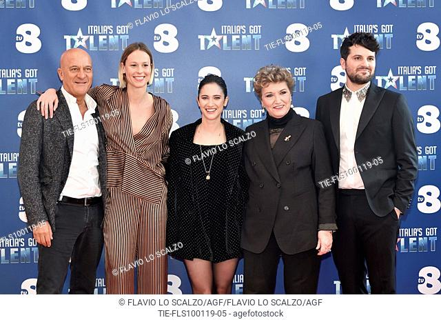 The actor Claudio Bisio, swimmer Federica Pellegrini, singer Lodovica Comelli, record producer Mara Maionchi and the actor Frank Matano during the photocall of...