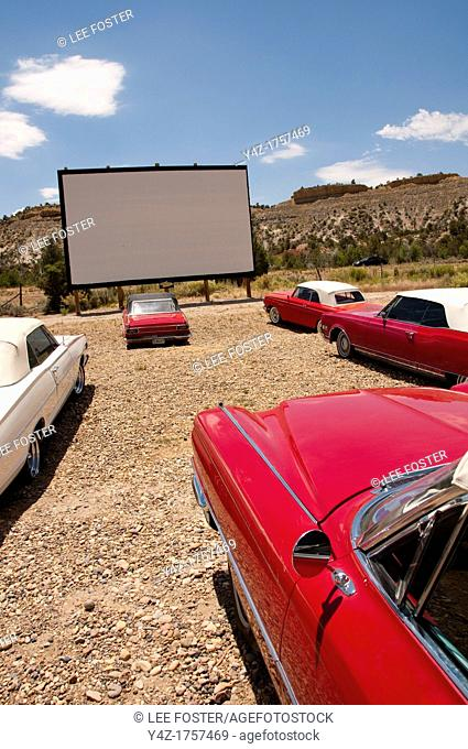 USA, Utah, drive in classic 1940s-60s movies and historic candy and vintage convertibles are available at the Shooting Star Drive-In in Escalante