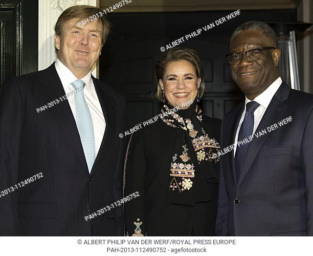 King Willem-Alexander of The Netherlands, Maria Teresa Grand Duchess of Luxembourg and Dr Denis Mukwege at the Nieuwe Kerk in The Hague, on November 28, 2018