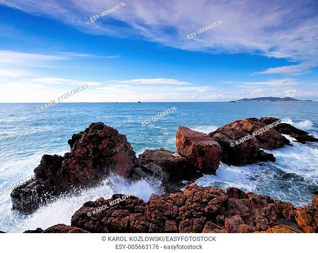 Coastline of the island Ibiza on Balearic Islands, Spain