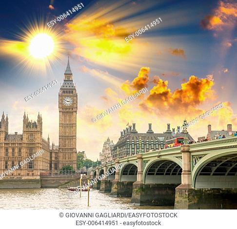 Westminster Bridge, London. River Thames and Big Ben Tower with Houses of Parliament