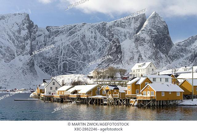 Village Reine and village Skrisoya on the island Moskenesoya. The Lofoten Islands in northern Norway during winter. Europe, Scandinavia, Norway,February