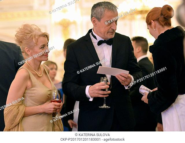 Czech Defence Minister Martin Stropnicky, accompanied by his wife Veronika Zilkova, attend a charity ball which Czech President Milos Zeman and First Lady Ivana...