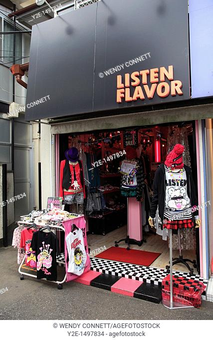 Takeshita Dori, a pedestrianized street that is a mecca for youth culture and fashion, Harajuku, Tokyo, Japan, Asia
