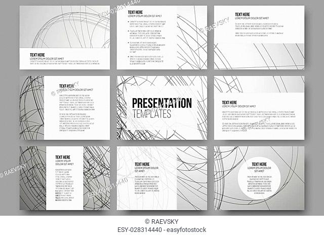 Set of 9 vector templates for presentation slides. Conceptual abstract scientific vector background, minimalistic design
