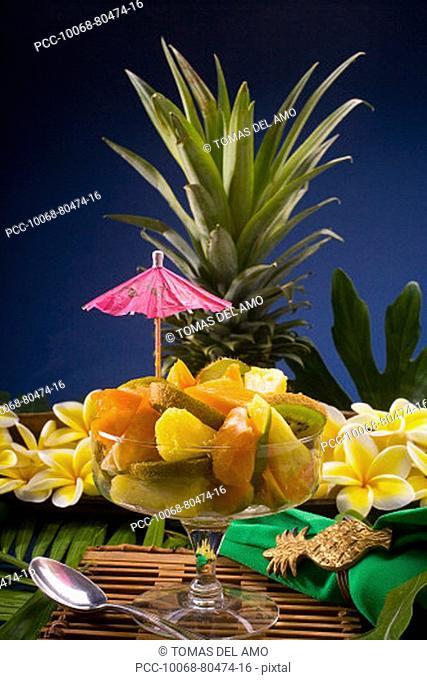 Studio shot of a tropical fruit salad