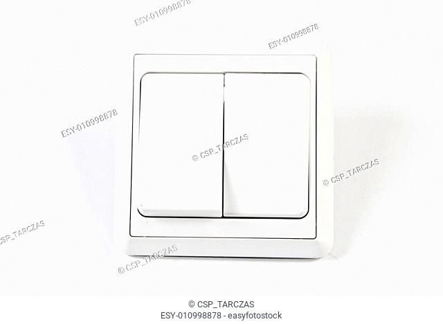 white double light switch isolated on white background