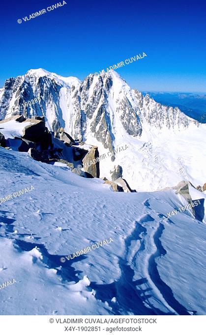 View of Aiguille Verte from Aiguille d'Argentiere, Mont Blanc mountain massif, Savoy Alps, France