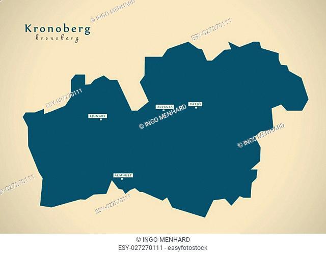 Modern Map - Kronoberg Sweden SE illustration