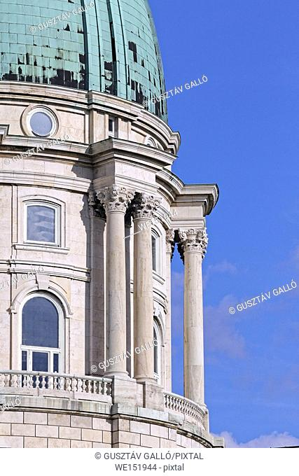 Budapest, Hungary, Buda Castle dome detail and columns