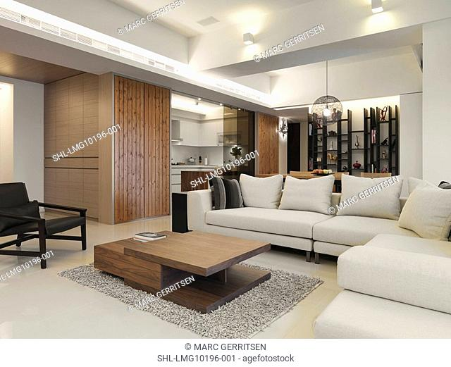 Living room in modern home with large white sofa