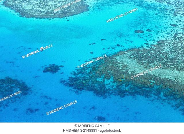 France, New Caledonia, Southern Province, Noumea, Reef Four Tops West Lagoon classified as a UNESCO World Heritage (aerial view)