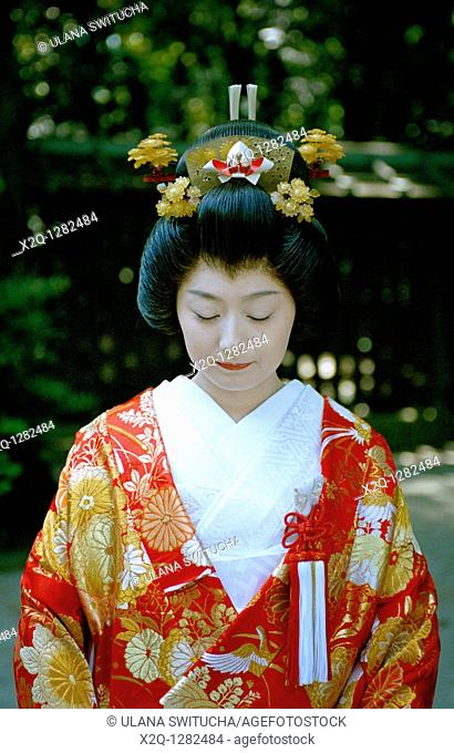A Japanese bride wearing a traditional Japanese wedding kimono in Tokyo Japan