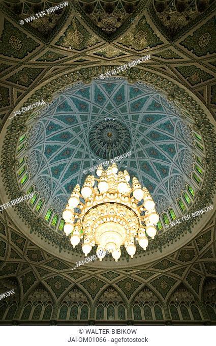 Oman, Muscat, Al-Ghubrah, Grand Mosque, Main Hall Chandelier