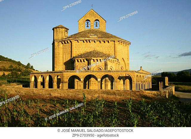 Santa María de Eunate, Romanesque church. Way of St. James, Muruzábal, Navarre. SpainIts construction is attributed to the Knights Templar