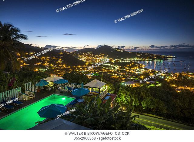 U. S. Virgin Islands, St. Thomas, Charlotte Amalie, elevated town view, dawn