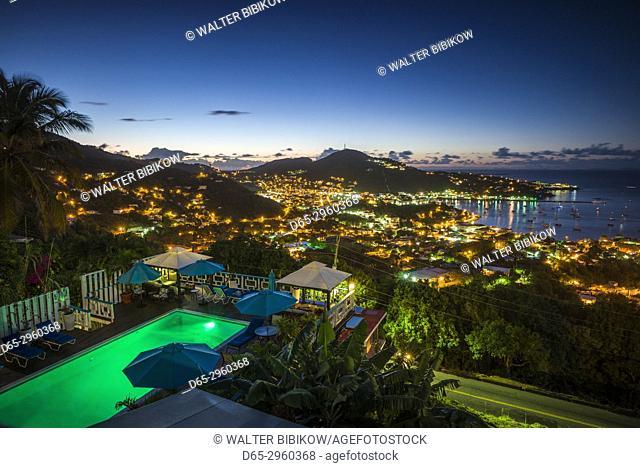 U. S. Virgin Islands, St. Thomas, Charlotte Amalie, elevated town view, dawn