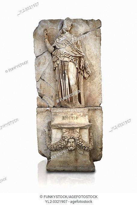 Roman Sebasteion relief sculpture of Krete Aphrodisias Museum, Aphrodisias, Turkey. Against a white background. . . The classical hairstyle