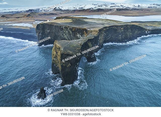Aerial - Dyrholaey, South Coast, Iceland