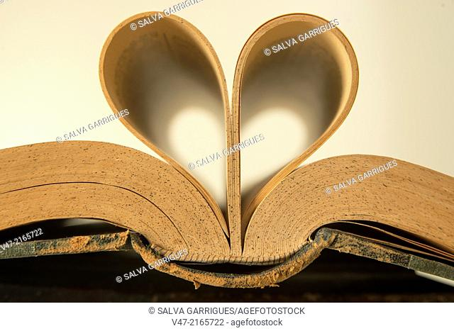 Open old book and leaves forming a heart