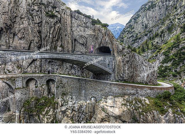 Devil's Bridge, Andermatt, Uri, Switzerland, Europe