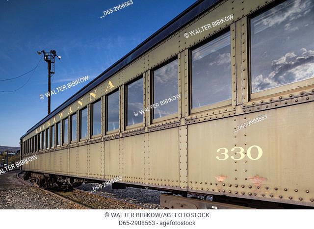 USA, Pennsylvania, Scranton, Steamtown National Historic Site, steam-era railroad cars
