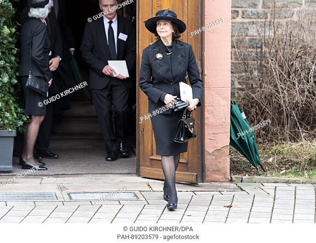 Queen Silvia of Sweden outside the church where the funeral service for Prince Richard of Sayn-Wittgenstein-Berleburg will take place in Bad Berleburg, Germany