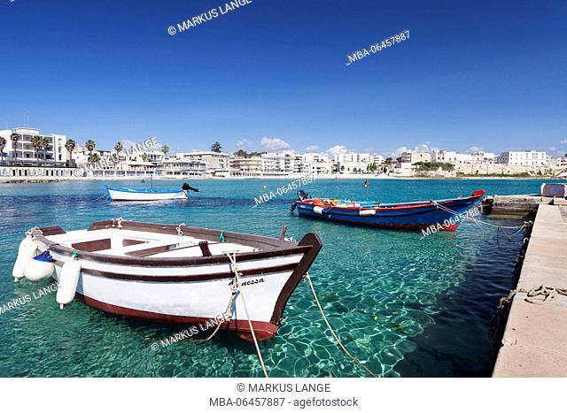 Fishing boats in the harbour of Otranto, province of Lecce, Peninsula of Salento, Apulia, Italy