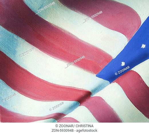 American flag grungy vintage oil painting