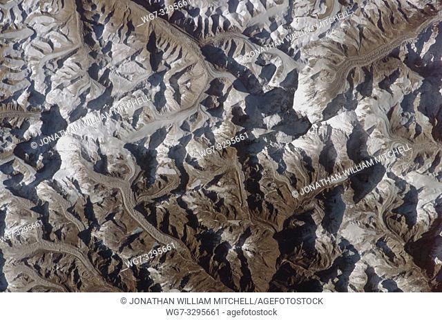 NEPAL Sagarmatha National Park -- circa. 2004 -- This extraordinary image taken from the International Space Station show the Khumbu Himal or Mahalangur Himal...