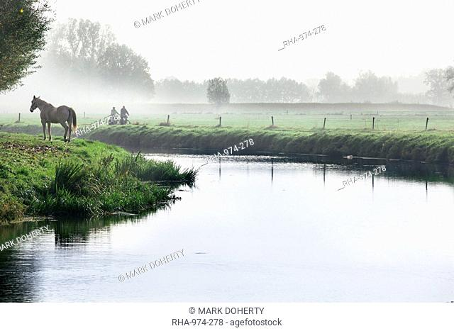 Scenic with mist, horse and two people cycling next to River Mark in autumn, Breda, North Brabant, The Netherlands Holland, Europe