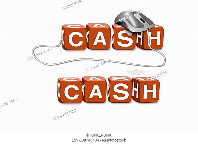 red dices spelling the word cash with or without mouse