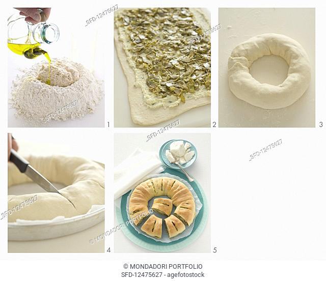 Bread wreath with an artichoke and ricotta filling being made