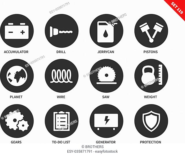 Tools vector icons set. Building and repair concept. Different equipment, accumulator, drill, pistons, wire, jerrycan, saw, generator, gears