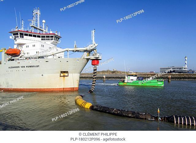 Trailing suction hopper dredger Alexander von Humboldt and offshore maintenance & service vessel Arista in the port of Ostend, Belgium