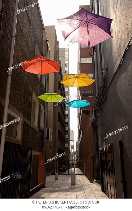 modern art with colourful umbrellas, Johannesburg, Gauteng, South Africa, Africa