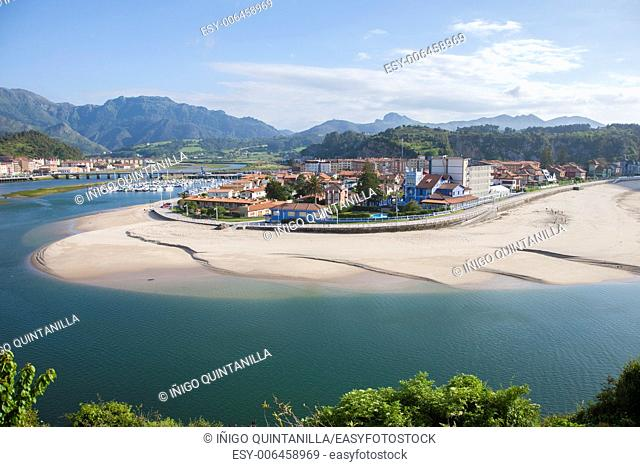 Ribadesella city waterfront next to Sella River in Asturias Spain Europe