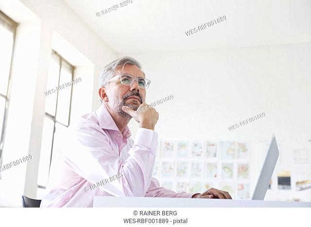 Portrait of pensive businessman with laptop at his desk in an office
