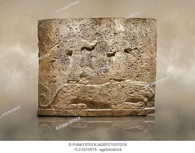 Photo of Hittite relief sculpted orthostat stone panel of Long Wall Limestone, Karkamıs, (Kargamıs), Carchemish (Karkemish), 900-700 B. C