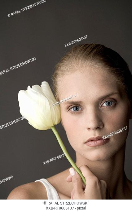 young woman with tulip