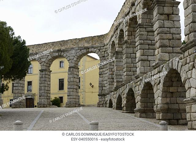 View of the Aqueduct in Segovia Spain perspective
