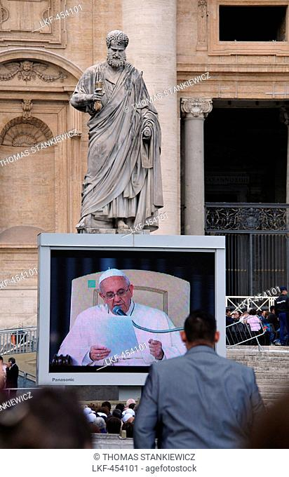 Pope Francis during a papal audience in front of St. Peter's Basilica, Rome, Italy
