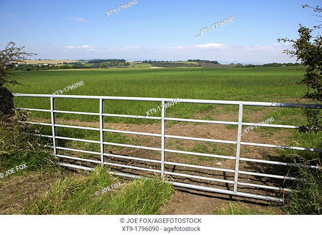 metal gate to field in scottish lowlands farmland lothian Scotland, uk, united kingdom